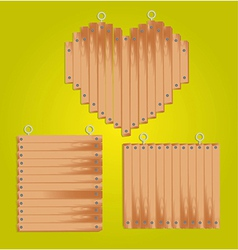 Set of wood panels with grommets for hanging inclu vector