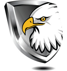 Silver shield with eagle vector