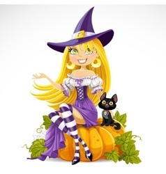 Cute young witch sits on a vector