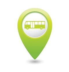 Bus icon green map pointer vector