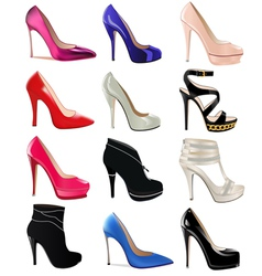 Set of womens shoes with heels vector