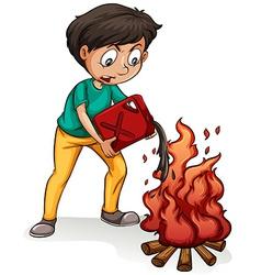 A boy making a campfire vector