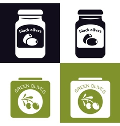 Olives in jar and in can vector
