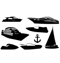 Set of different boats vector
