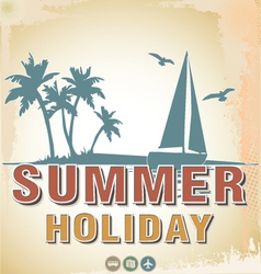 Summer background in retro style vector