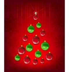 Christmas card with tree in the shape of balls vector