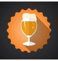 Glass of beer flat long shadow icon vector