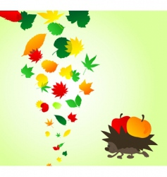 Hedgehog and leaves vector