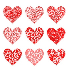 Valentine hearts red for your design vector