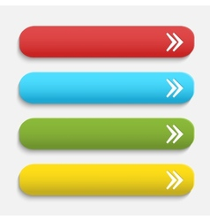 Realistic matted color web buttons with arrow vector