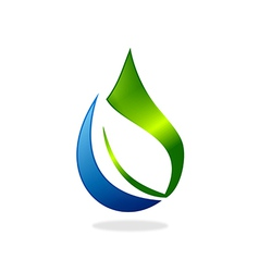Pure water drop ecology leaf nature logo vector