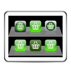 Shopping cart green app icons vector
