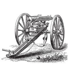 Galting gun vintage engraving vector