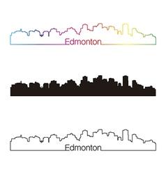 Edmonton skyline linear style with rainbow vector