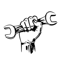 Hand and wrench vector