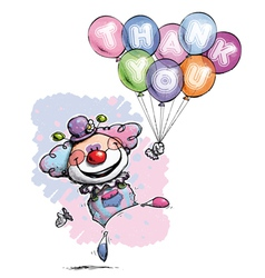 Clown with balloons saying thank you baby colors vector