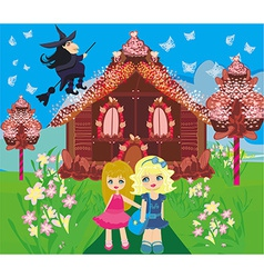 Gingerbread house children and witch vector