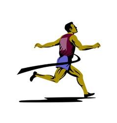 Marathon runner athlete running finish line vector