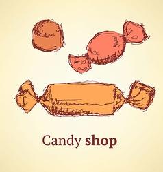 Sketch candies set in vintage style vector