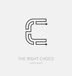 Letter c line art rebus concept logotype icon vector
