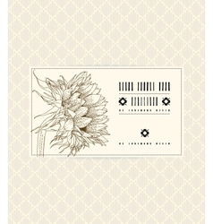 Vintage card with sunflower vector