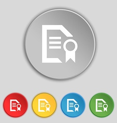 Award file document icon sign symbol on five flat vector