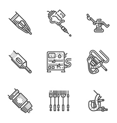 Black line icons for tattoo equipment vector
