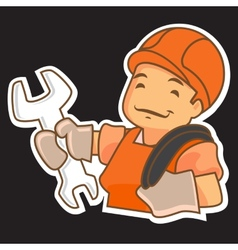 Cartoon handyman with tools vector