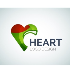 Love heart like logo made of color pieces vector