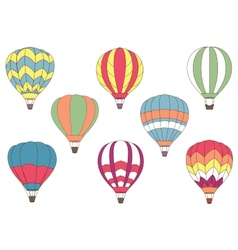 Flying colorful hot air balloon icons vector