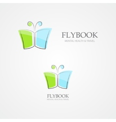 Logo combination of a book and butterfly vector