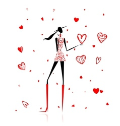 Valentine day girl with big red heart vector