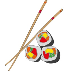 Sushi and chopsticks- vector