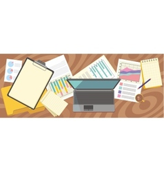 Top view laptop papers with numbers and charts vector