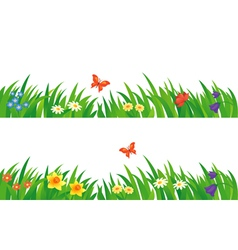 Grass and flowers set vector