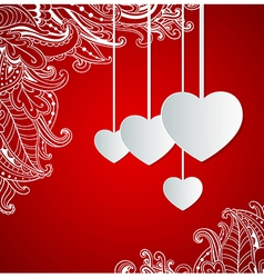 Red decorative background with hearts vector