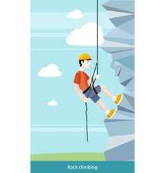 Man doing rock climbing vector
