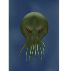 Scary octopus face vector