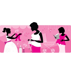 Pregnant women silhouttes vector