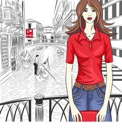 Fashion girl in venice vector