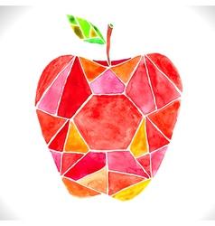 Watercolor beautiful mosaic red apple vector