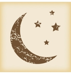 Grungy crescent moon icon vector