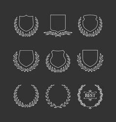 Set of badges and laurel wreaths vector