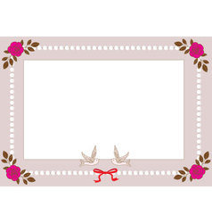 Vintage frame with pearls roses and birds vector