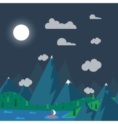 Natural landscape in nighttime the style of flat vector