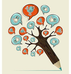 Social media concept pencil tree vector