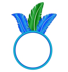 Blue frame ring with feathers vector