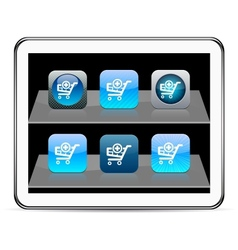 Add to cart blue app icons vector