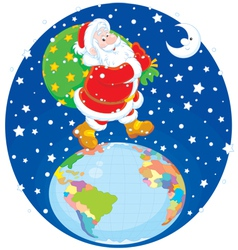 Santa with his bag of gifts vector