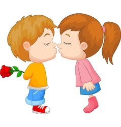Kissing boy and girl vector